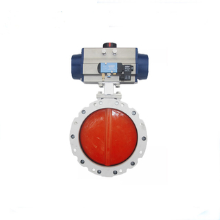 DN100 Powder Butterfly Valve with Pneumatic Actuator